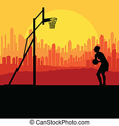 Basketball player in front of city sunset vector background...
