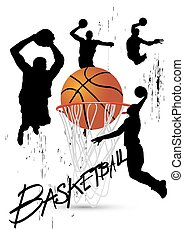 basketball player in posture jumping on white vector