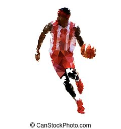 Basketball player in red jersey with ball, abstract geometric illustration