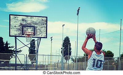 Basketball player in vintage tone