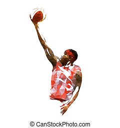 Basketball player isolated vector illustration, geometric colorful silhouette