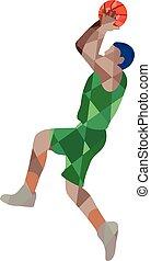 Basketball Player Jump Shot Ball Low Polygon