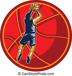 Basketball Player Jump Shot Ball Woodcut retro -...