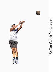 Basketball player jump shot on white
