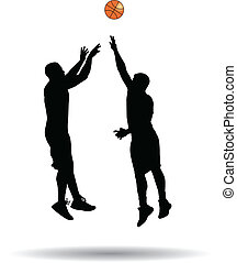 basketball player jump shot silhouette vector
