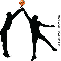 basketball player jump shot silhouette vector