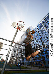 Basketball Player Jumping Action Shot