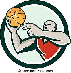 Basketball Player Lay Up Ball Circle Retro