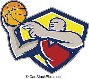 Basketball Player Laying Up Ball Retro