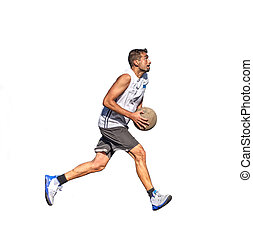 Basketball player loading the jump on white