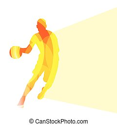 Basketball player man silhouette illustration vector background colorful concept