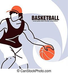 Basketball player man with ball and hat vector design