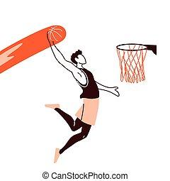 basketball player man with ball jumpign to basket hoop vector design
