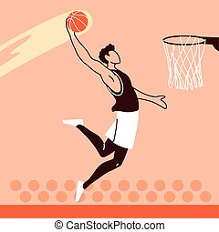 basketball player man with ball jumping to basket vector design