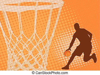 basketball player on the abstract background