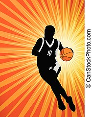 basketball player on the abstract orange background