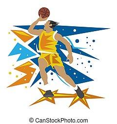 Basketball player on white background, flat design