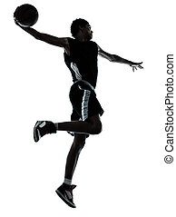 basketball player one hand slam dunk silhouette - one young...