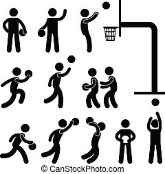 A set of pictogram about basketball game.