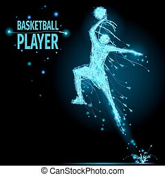 Basketball player polygonal - Abstract basketball player in...