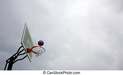 basketball player practicing and posing for basketball and sports athlete concept, dunk the in basketball hammering