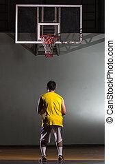 Basketball player prepare for shooting ball to basket