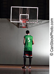 Basketball player prepare to shoot ball in the game