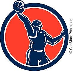 Basketball Player Rebounding Lay-Up Ball Circle