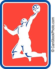 Basketball Player Rebounding Lay-Up Ball Rectangle