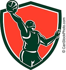 Basketball Player Rebounding Lay-Up Ball Shield