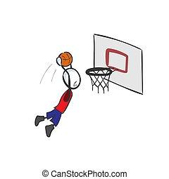 Basketball player score. High jump. Hand drawn. Stickman cartoon. Doodle sketch, Vector graphic illustration