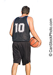 Basketball player seen from behind