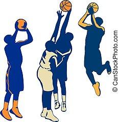 Basketball Player Shoot Ball Retro Collection
