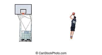 basketball player shooting at the hoop