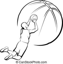 Basketball Player Shooting - Vector illustration of a...