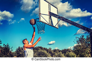 Basketball player short range shot