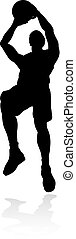 Basketball Player Silhouette - A detailed silhouette...
