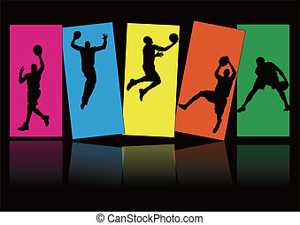 five man playing basketball and colorful background shadow Silhouette