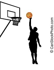 Basketball player silhouette on white background