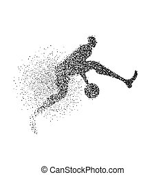 Basketball player silhouette particle background