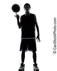 basketball player silhouette - one young man basketball...