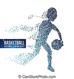 Basketball Player Silhouette Vector. Halftone. Dynamic Basketball Athlete. Flying Dotted Particles. Sport Banner Concept. Isolated Abstract Lifestyle Illustration