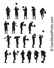Basketball player silhouettes