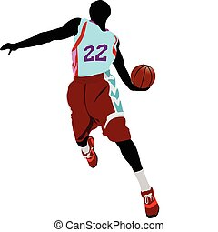 Basketball player silhouettes. Vec