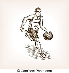 Basketball player sketch style vector illustration