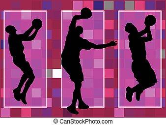basketball player slam dunk shadow