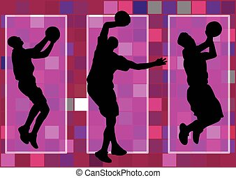 basketball player slam dunk shadow
