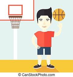 Basketball player spinning ball.