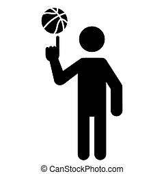 Basketball Player Spinning Ball With Finger
