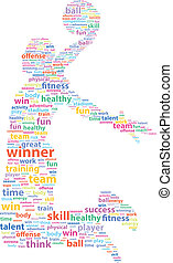 Basketball Player Sports Word Cloud Vector Illustration